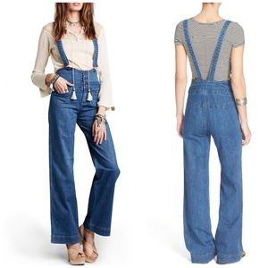 NWOT Free People Penrose Overalls Jeans Blue 30